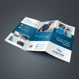 Blue-Violet Business TriFold Brochure With Abstract