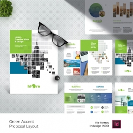 Boxes Style Project Proposal Layout with Green Accent