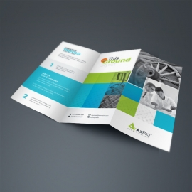 Boxs Business TriFold Brochure With Blue Green Accent