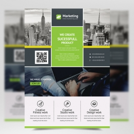 Boxs Green Accent Flyer Template