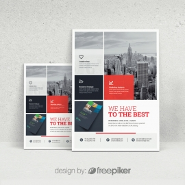 Boxs Red Accent Flyer Template