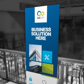 Boxs Rollup Banner With Blue Accent
