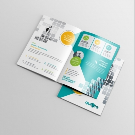 Boxs Style Business Bifold Brochure With Paste Accent