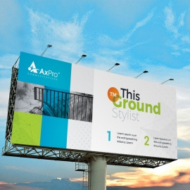 Boxs Style Business Billboard Banner With Blue Green Accent