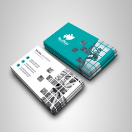 Boxs Style Business Card With Paste Accent