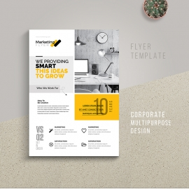 Boxs Style Multipurpose Flyer With Yellow Accent