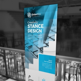 Boxs Style Rollup Banner With Cyan Accent