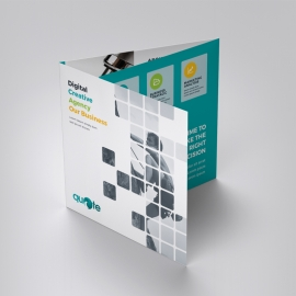 Boxs Style Square TriFold Brochure With Paste Accent