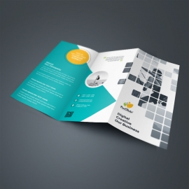 Boxs Style TriFold Brochure With Paste Accent