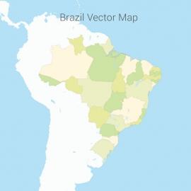 Brazil Map Colorfull Vector Design