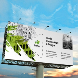 Brush Style Billboard Banner With Green Accent