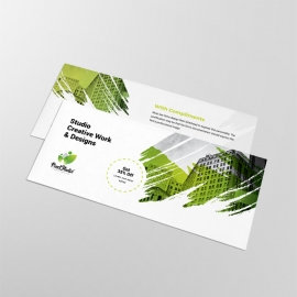 Brush Style Business Compliment Card With Green Accent