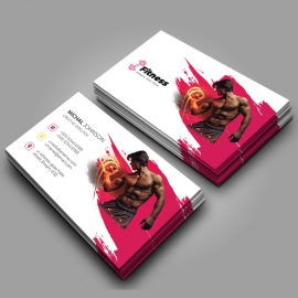 Brush Style Fitness Gym BusinessCard With Red Acccent