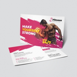 Brush Style Fitness Gym PostCard With Red Accent