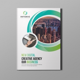 Business Bi-Fold Brochure With Green Elements