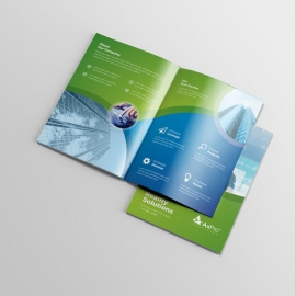 Business Bifold Brochure With Blue Green Accent