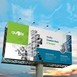 Business Billboard Banner With Green & Blue Rectangle
