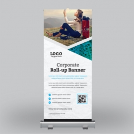 Business  Blue Roll-Up Banner