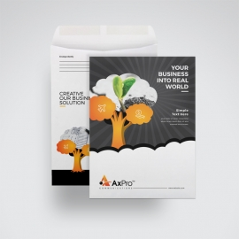 Business C4 Envelope Catalog With Orange Tree Elements