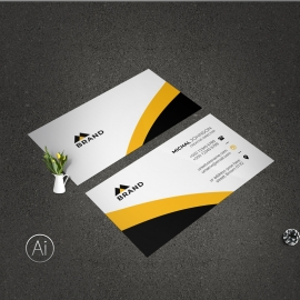 Business Card With Black Yellow Accent