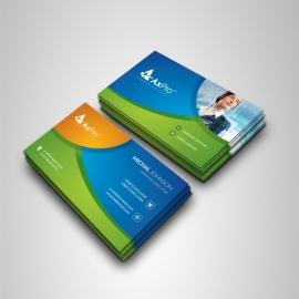 Business Card With Blue Green Accent
