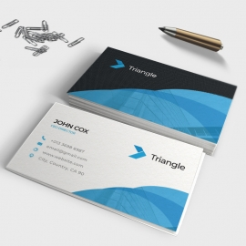 Business Card With Blue Round Shape