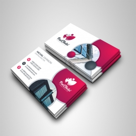 Business Card With Cricle & Red Accent