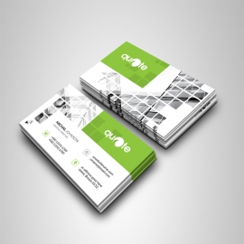 Business Card With Green Rectangle Boxs