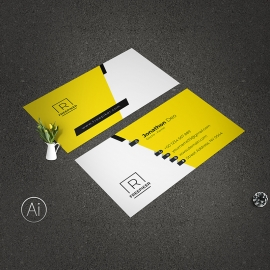 Business Card With Yellow Accent