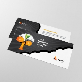 Business Compliment Card With Black acent & Tree Elements