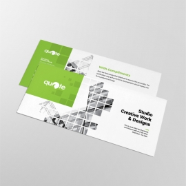Business Compliment Card With Green Rectangle Boxs