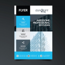 Business Flyer Template with Cyan Color