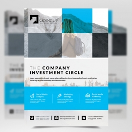 Business Flyer Template with Cyan Geometric Shapes