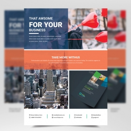 Business Flyer Template with Red Accent