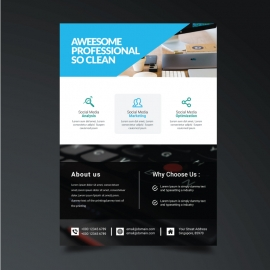 Business Flyer with Black Cyan Accent