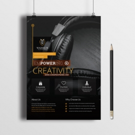 Business Flyer With Black Orange Concept