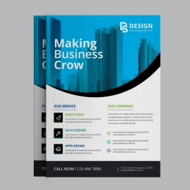 Business Flyer With Blue Concepts