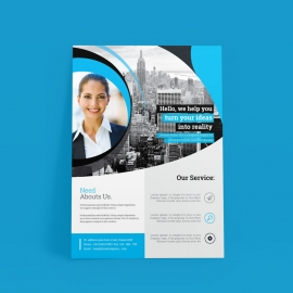 Business Flyer with Cyan Accent