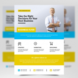 Business Flyer with Cyan & Orange Accent