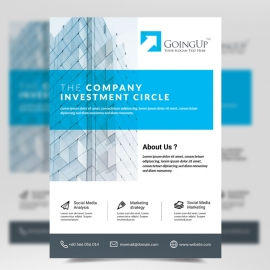 Business Flyer with Cyan Wavy Shapes