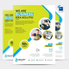 Business Flyer With Green And Magenta Accent