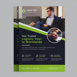 Business Flyer With Green Concepts