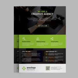 Business Flyer With Green Orange Elements