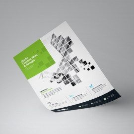 Business Flyer With Green Rectangle Boxs