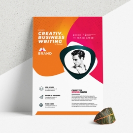 Business Flyer With Orange And Red Accent