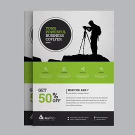 Business Flyer With Orange Green Concepts
