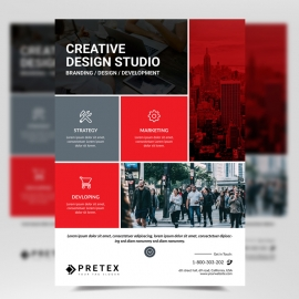 Business Flyer with Red Accent
