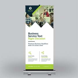 Business Green & Orange Roll-Up Banner
