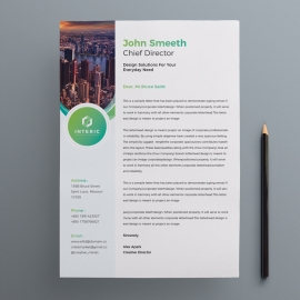 Business Letterhead With Green Concepts
