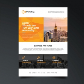 Business  Orange Flyer Template
